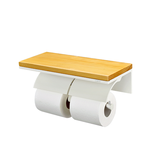 Double Toilet Tissue Holder W/Wooden Shelf  (Aluminum W/Ivory Coating)