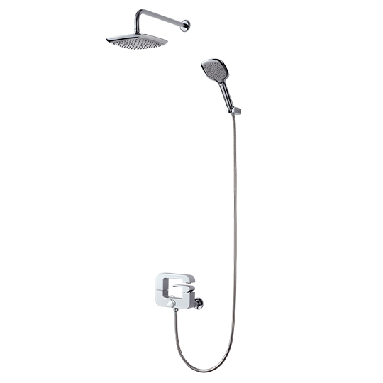 Bath/Shower Mixer W/ Hand Shower & Showerhead & Hose & Wall Bracket