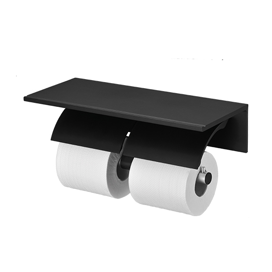 Double Toilet Tissue Holder W/Shelf (Aluminum W/Black Coating)