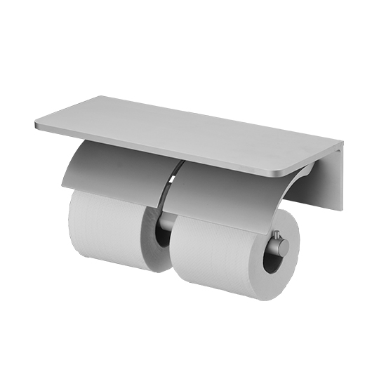 Double Toilet Tissue Holder W/R Corner Shelf (Aluminum W/Anodizing)