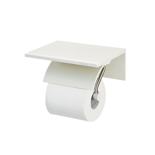 Single Toilet Tissue Holder W/Shelf (Free Direction)(Aluminum W/Ivory Coating)