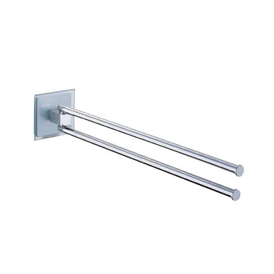 Swivel Double Towel Bar (White Glass)