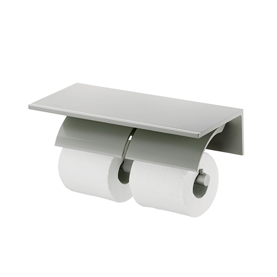 Double Toilet Tissue Holder W/Shelf (Aluminum W/Anodizing)