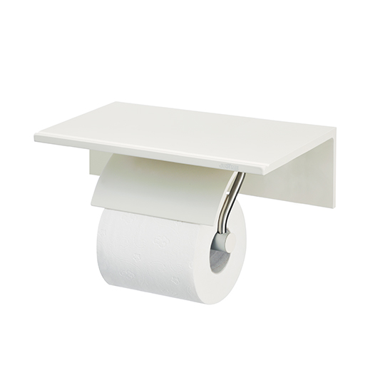 Single Toilet Tissue Holder W/Shelf (Aluminum W/Ivory Coating)